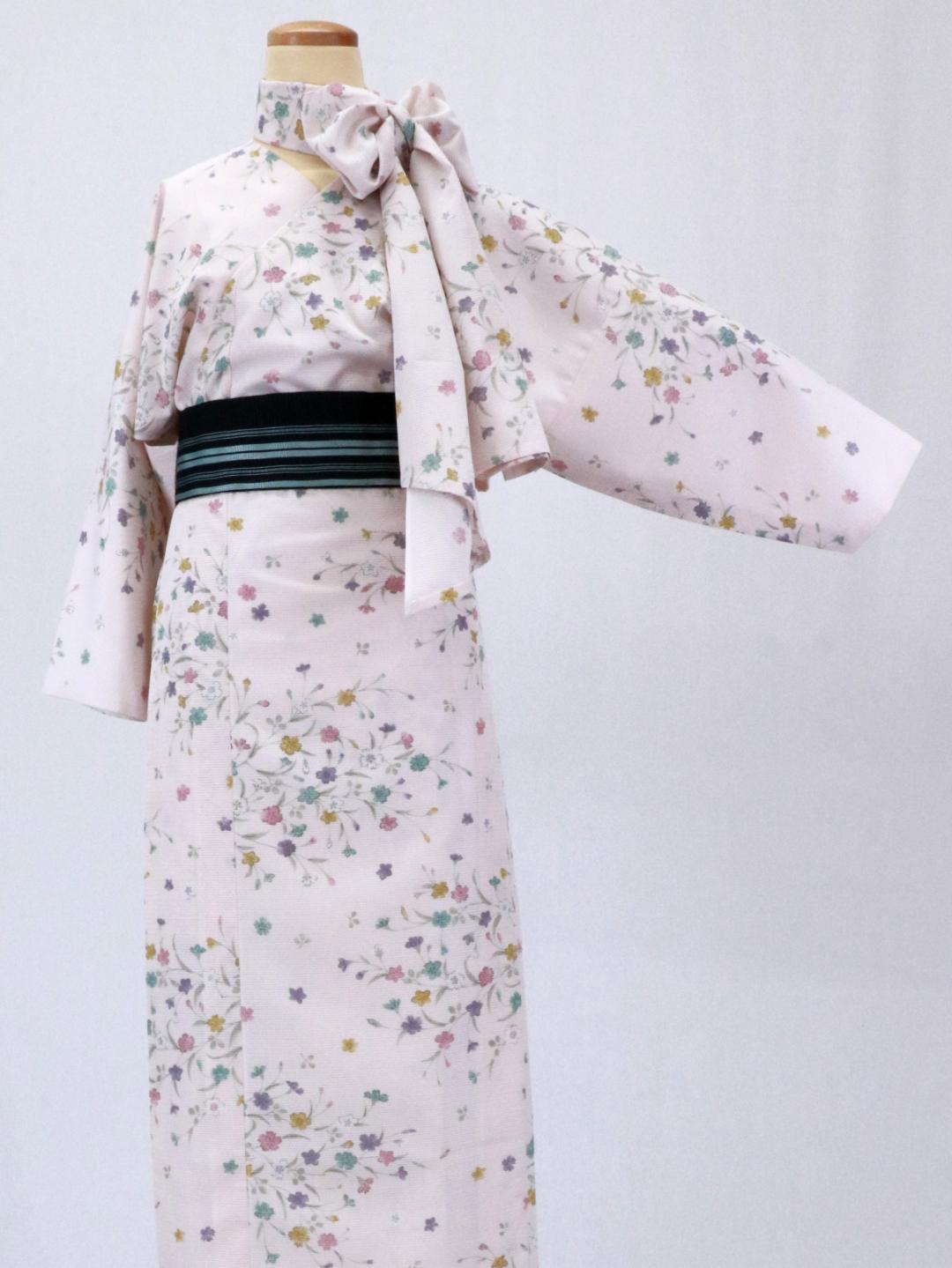 【日本製】 単品 衿なし高級着物(小袖)絽 [ピンク系][N102][MTサイズ]画像