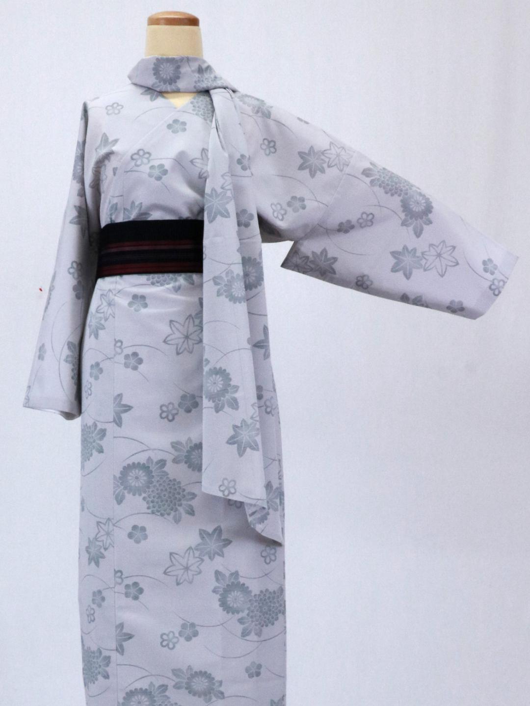 【日本製】 単品 衿なし高級着物(小袖)夏紬風 [グレー系][N107][Lサイズ]画像