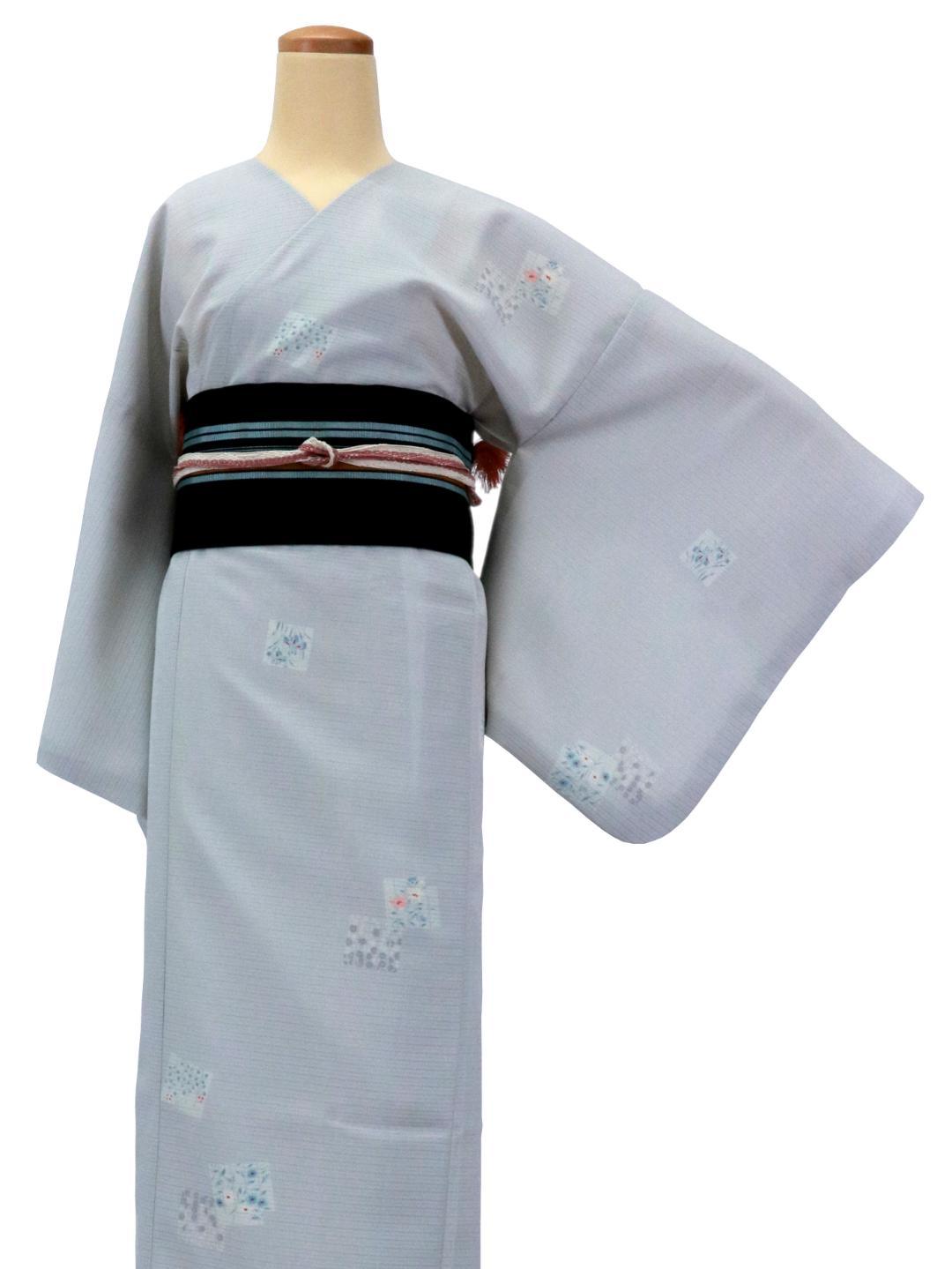 【日本製】 単品(衿なし)高級夏着物 絽 [薄黄緑系][N042][STサイズ]画像
