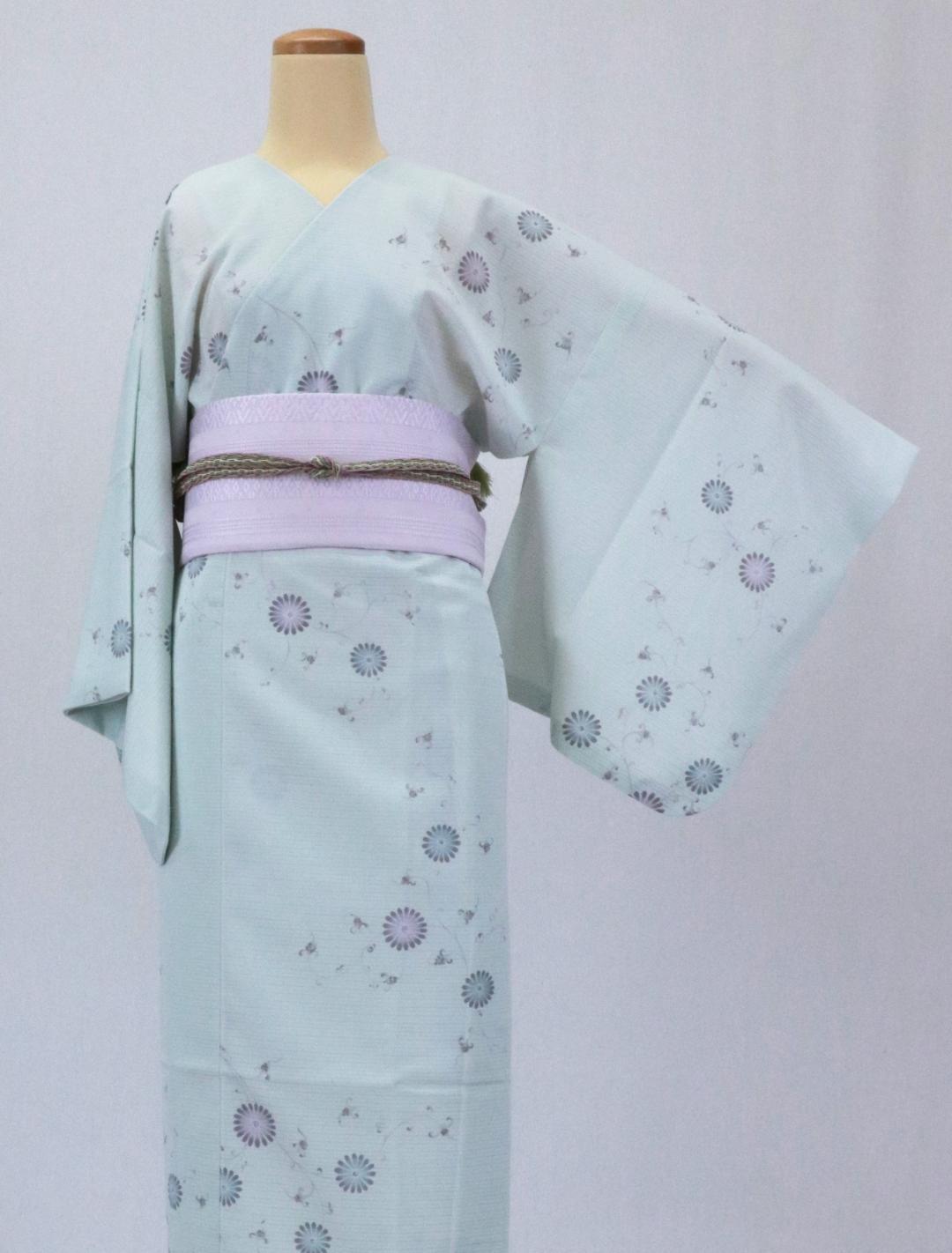 【日本製】 単品(衿なし)高級夏着物 絽 [薄黄緑系][N049][STサイズ]画像
