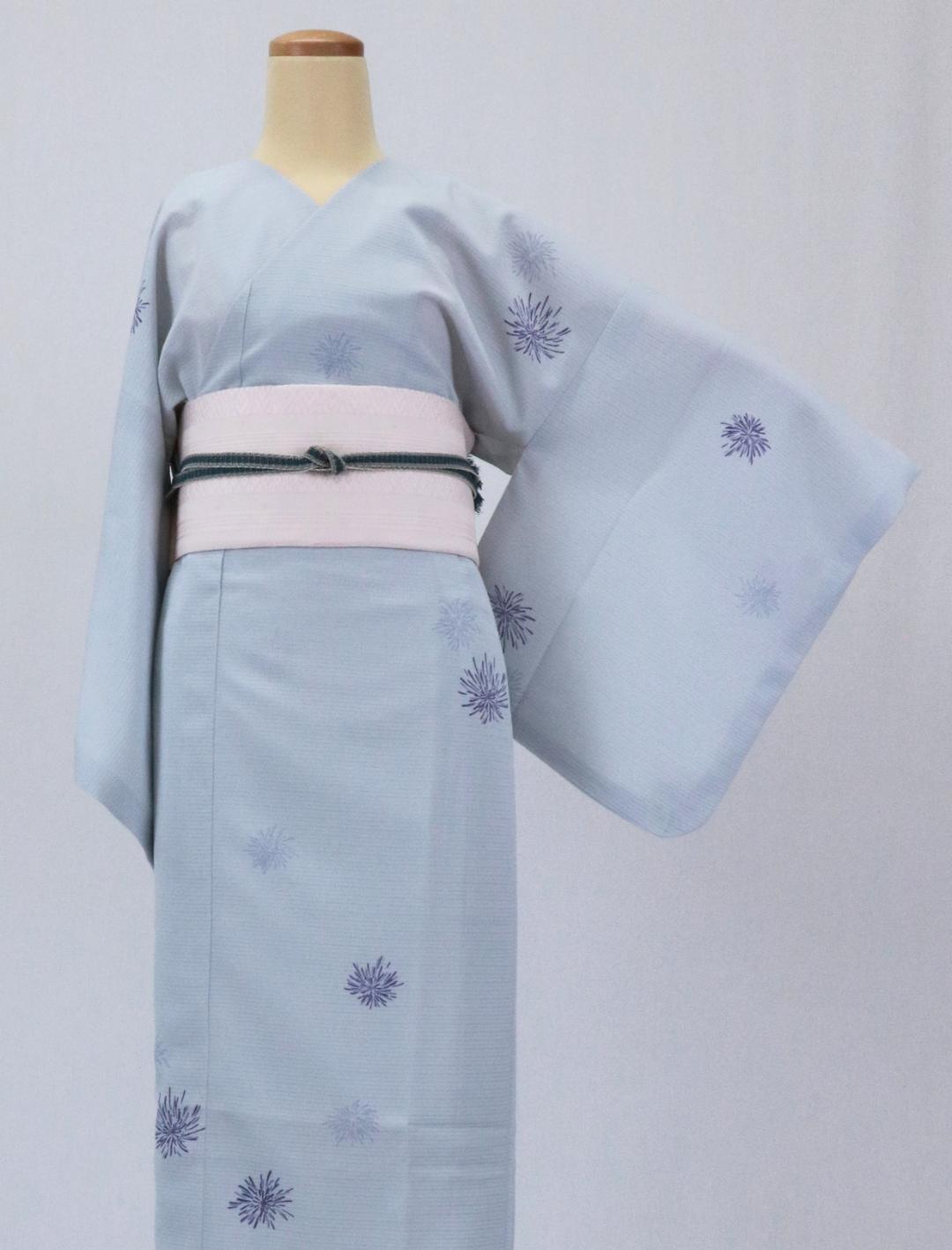 【日本製】 単品(衿なし)高級夏着物 絽 [水色系][N053][Mサイズ]画像