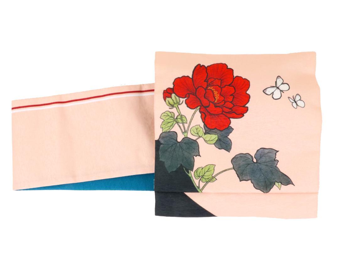 【日本製】オリジナルデザイン京袋お太鼓帯 造り帯 S/M/Lサイズ[No7 紅白牡丹]画像