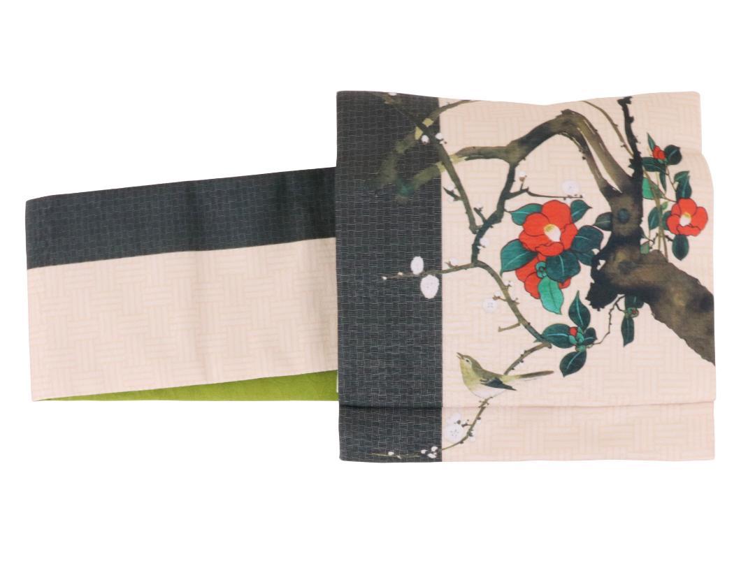 【日本製】オリジナルデザイン京袋お太鼓帯 造り帯 S/M/Lサイズ[No8 春つばき]画像