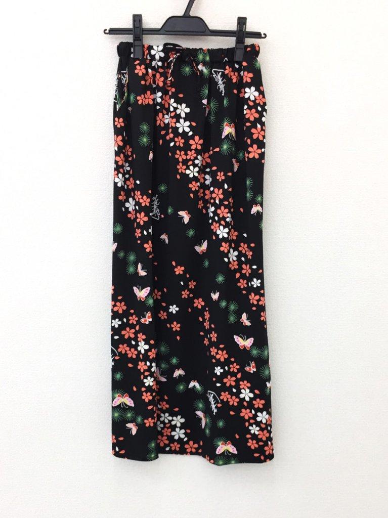 さらっとした肌ざわりで着心地バツグン!和柄セットアップのおしゃれスカート♪2-C(黒)の画像