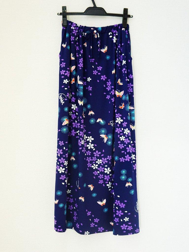 さらっとした肌ざわりで着心地バツグン!和柄のおしゃれスカート♪2-A(紺)の画像