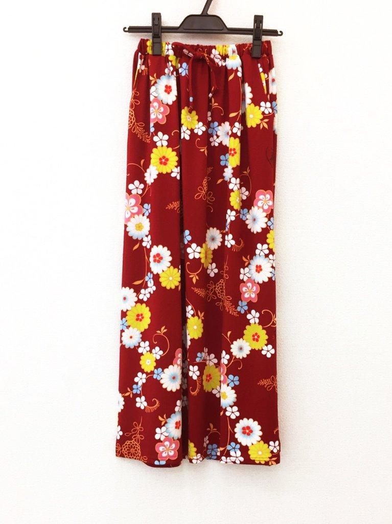 さらっとした肌ざわりで着心地バツグン!和柄のおしゃれスカート♪2-D(エンジ)の画像