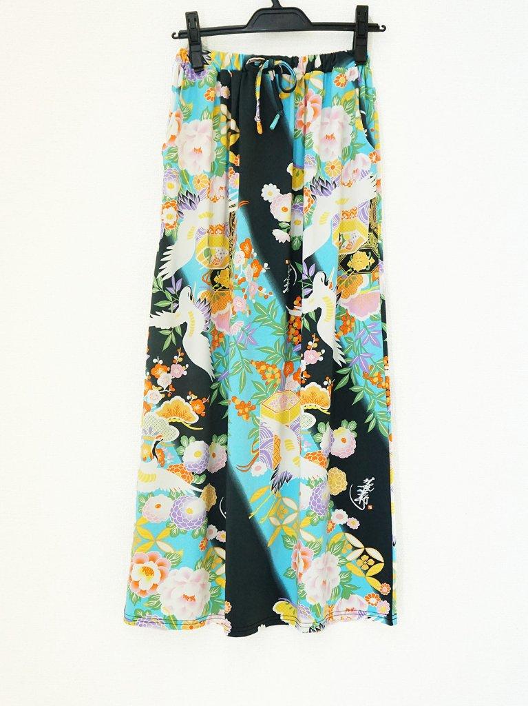 さらっとした肌ざわりで着心地バツグン!和柄のおしゃれスカート♪1-B(濃グレー×水色)の画像