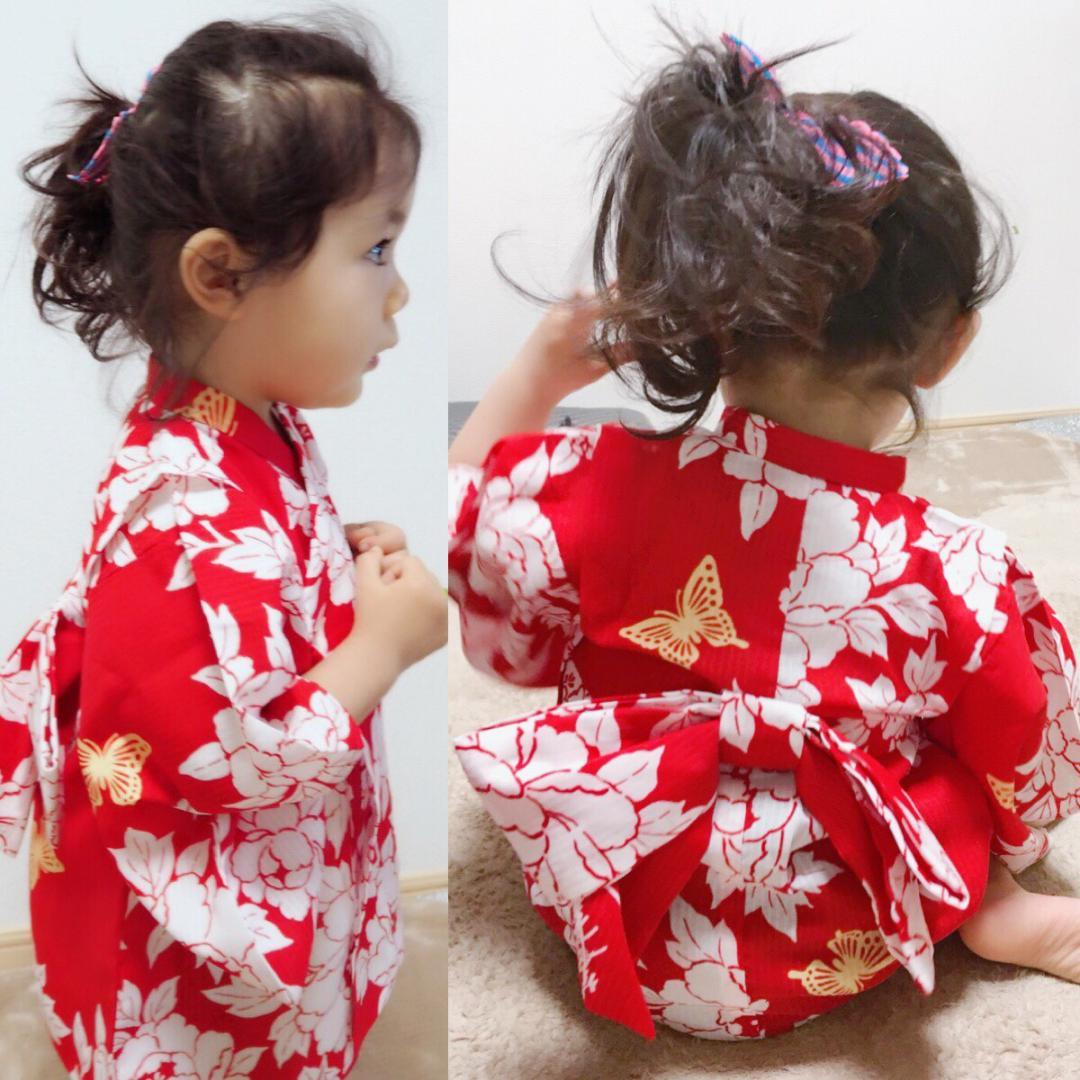 子供浴衣(蝶々姫・赤)《80〜110》全国店舗にて販売中♪ 画像