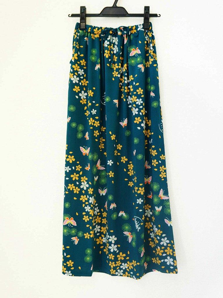 さらっとした肌ざわりで着心地バツグン!和柄のおしゃれスカート♪2-B(緑)の画像