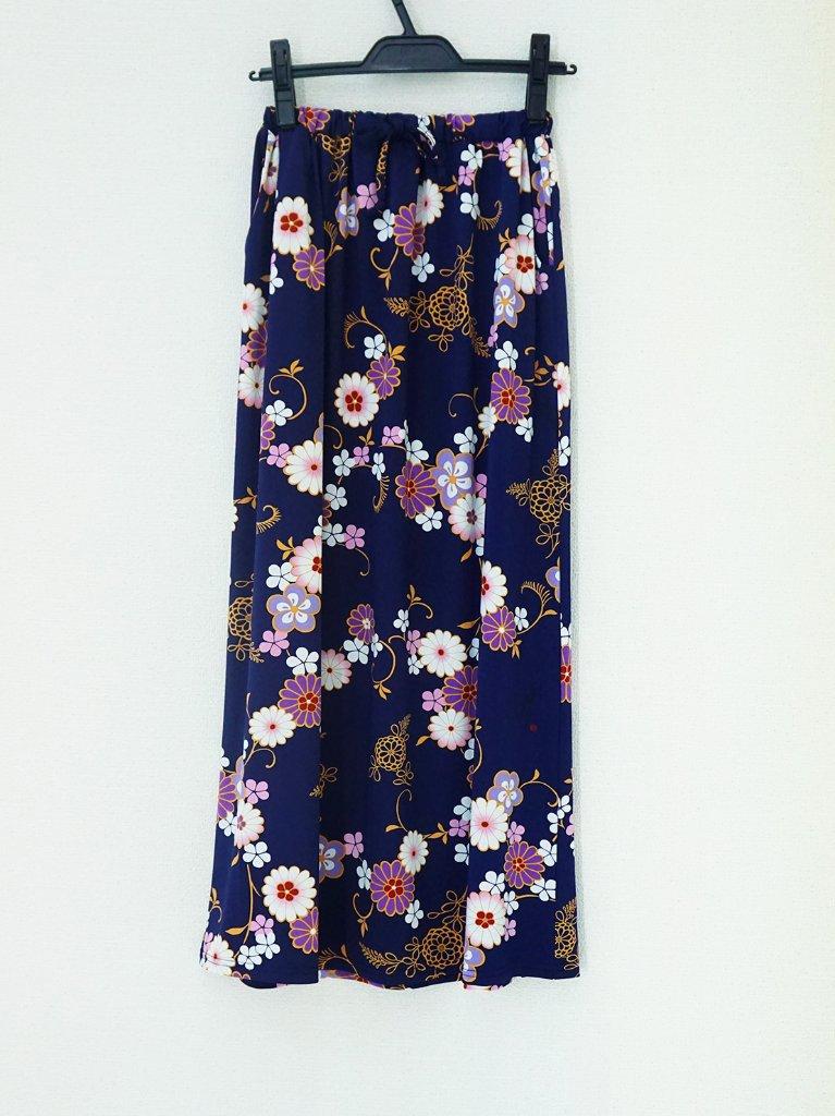 さらっとした肌ざわりで着心地バツグン!和柄のおしゃれスカート♪2-F(紺)の画像