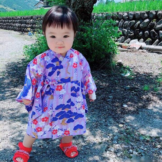 子供浴衣(花ごろも・紫)《80〜110》全国店舗にて販売中♪画像