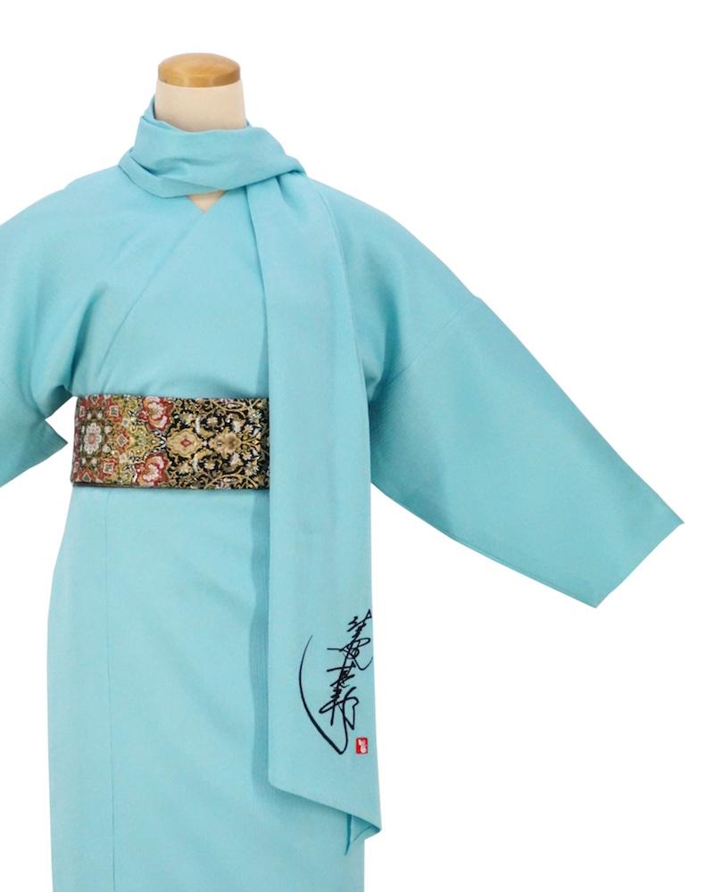 【日本製】衿なし高級着物(小袖)3点セット☆心のままに-びゃくぐん色[MTサイズ][151]【送料無料】の画像