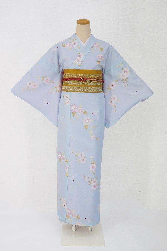 衿つき着物+帯+帯締め+簡単な半衿の4点セット(凛・薄青)の画像