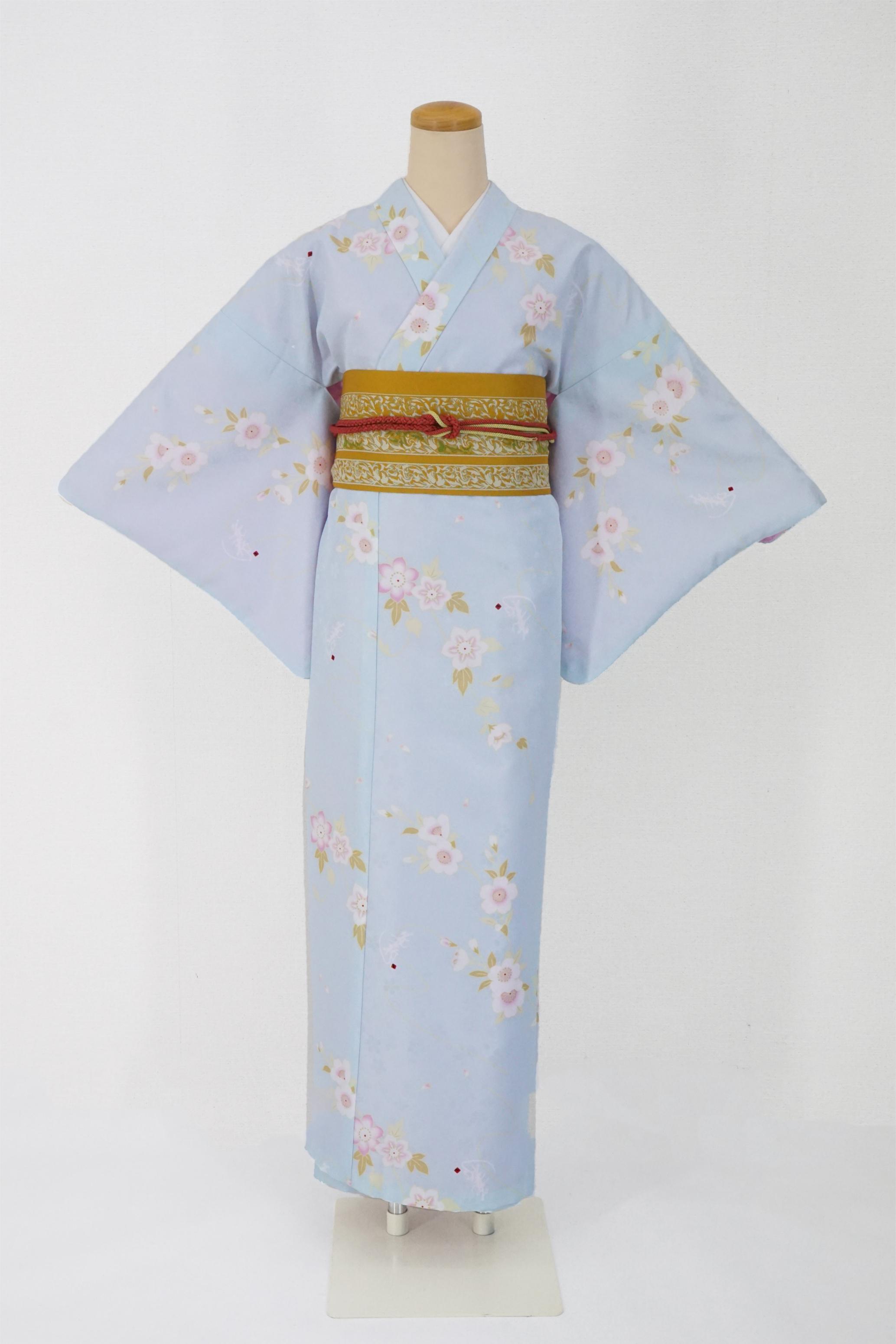 衿つき着物+帯+帯締め+簡単な半衿の4点セット(凛・薄青)画像