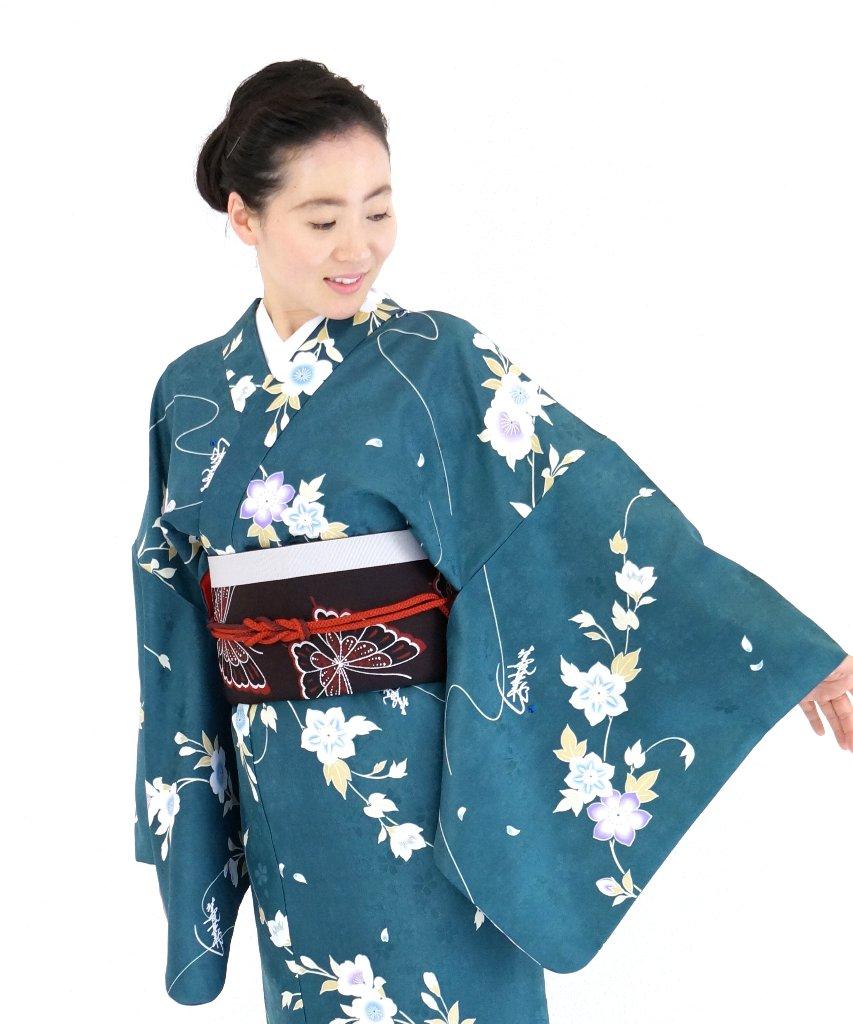 衿つき着物+帯+帯締め+簡単な半衿の4点セット(凛・深緑)の画像