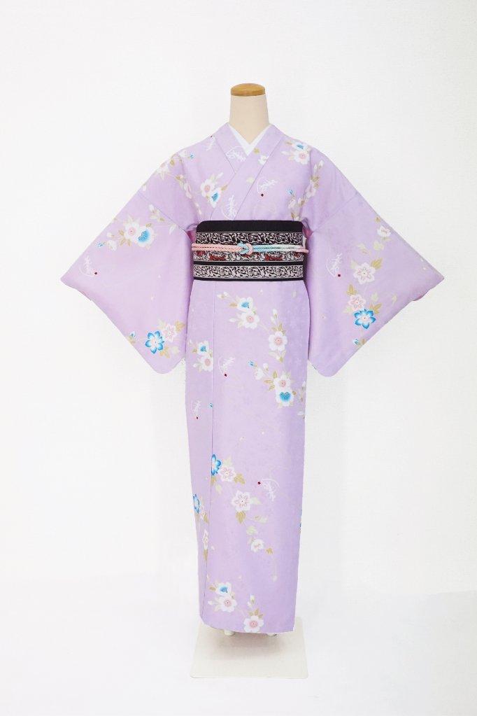 衿つき着物+帯+帯締め+簡単な半衿の4点セット(凛・薄紫)の画像