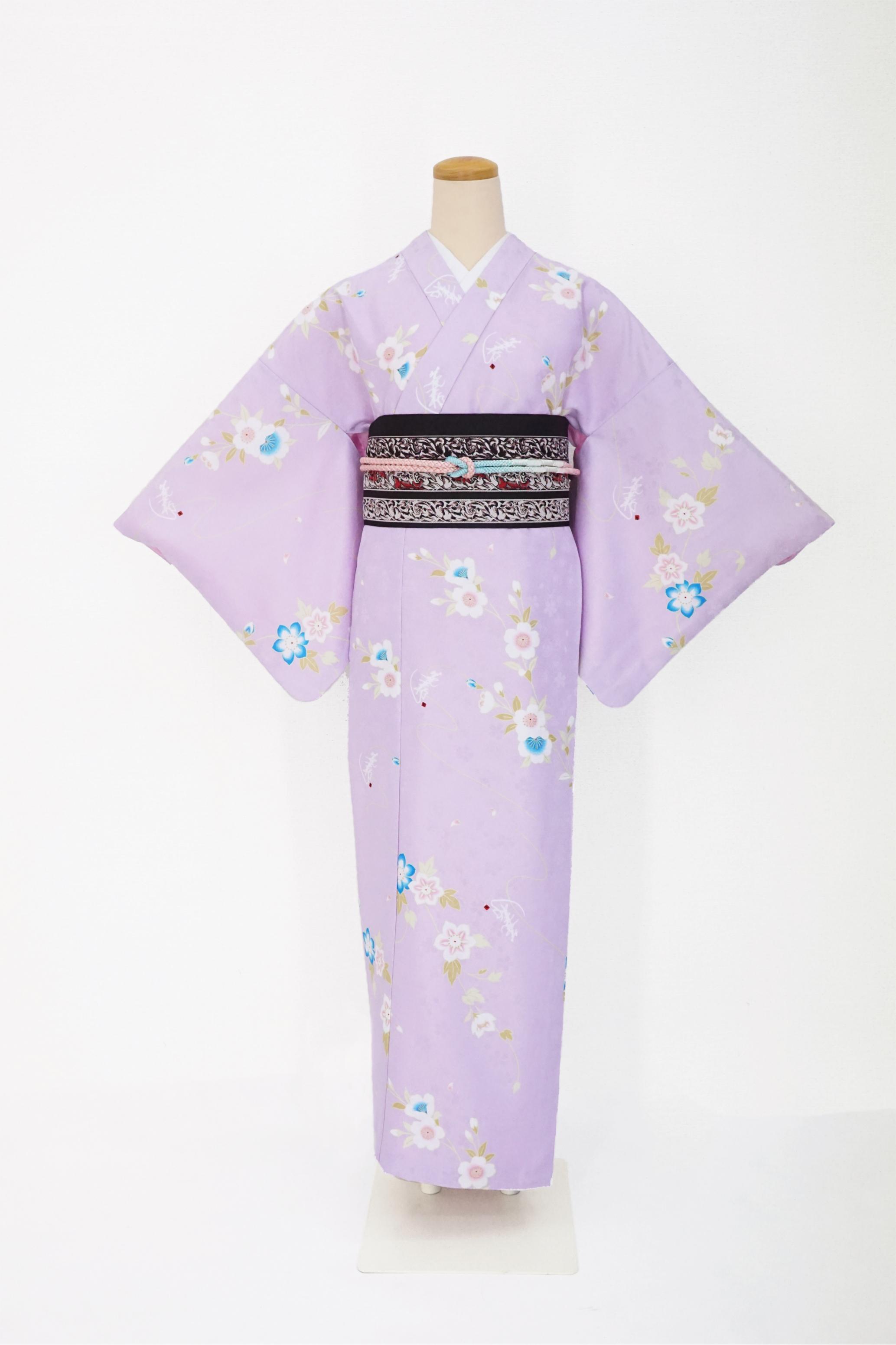 衿つき着物+帯+帯締め+簡単な半衿の4点セット(凛・薄紫)画像