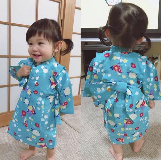 子供浴衣(梅しらべ・水色)《80〜110》全国店舗にて販売中♪画像