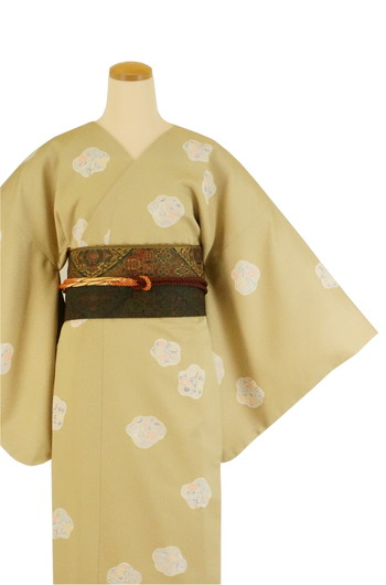 【日本製】衿なし高級着物+帯+帯締め3点セット(MTサイズ)☆心もよう[127]【送料無料】の画像