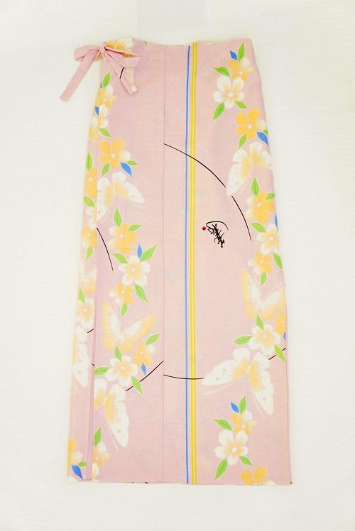 【超特価!】着まわし力抜群★和柄巻きスカート/ロングタイプ/[さくら蝶]薄桃色画像