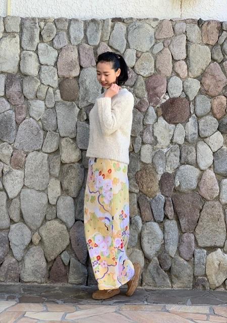【超特価!】着まわし力抜群★和柄巻きスカート/ロングタイプ/[祝鶴]橙色の画像