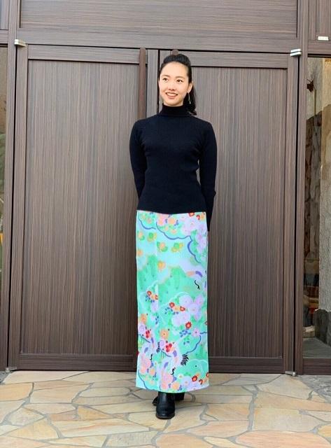 【超特価!】着まわし力抜群★和柄巻きスカート/ロングタイプ/[祝鶴]薄緑色の画像
