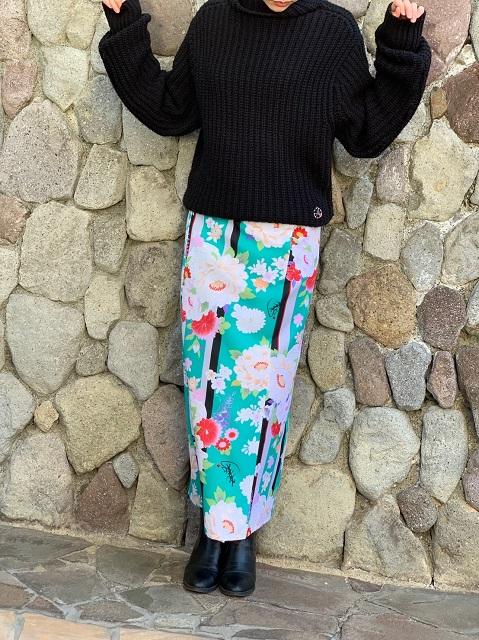 【超特価!】着まわし力抜群★和柄巻きスカート/ロングタイプ/[彩ぼたん]緑色の画像