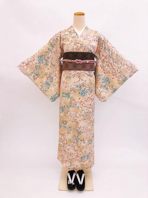 【日本製】衿付き高級着物 [Sサイズ]着物・帯・帯締め+簡単な半衿の4点セット☆[122]【送料無料】の画像
