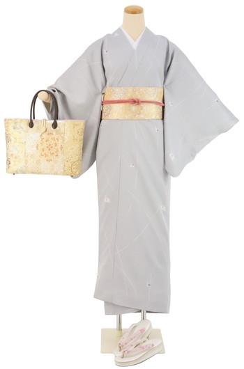 【日本製】衿付き高級着物 [Mサイズ]着物・帯・帯締め+簡単な半衿の4点セット☆[125]【送料無料】の画像