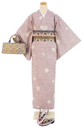 【日本製】衿付き高級着物 [MTサイズ]着物・帯・帯締め+簡単な半衿の4点セット☆[134]【送料無料】の画像