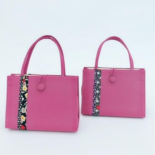 《選べる》カラフル和柄バッグ(横型)ピンク画像
