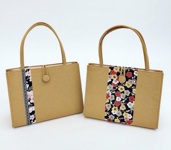 《選べる》カラフル和柄バッグ(横型)金茶画像