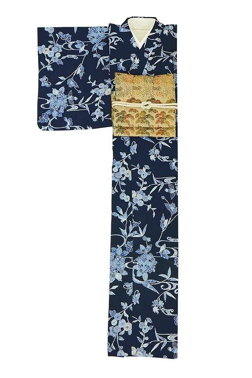 【日本製】衿付き高級着物[Sサイズ]着物・帯・帯締め+簡単な半衿の4点セット☆[84]【送料無料】の画像