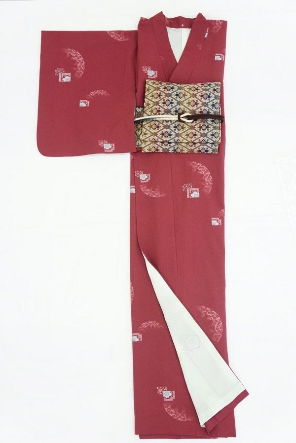 【日本製】衿付き高級着物[Lサイズ]着物・帯・帯締め+簡単な半衿の4点セット☆[21]【送料無料】の画像
