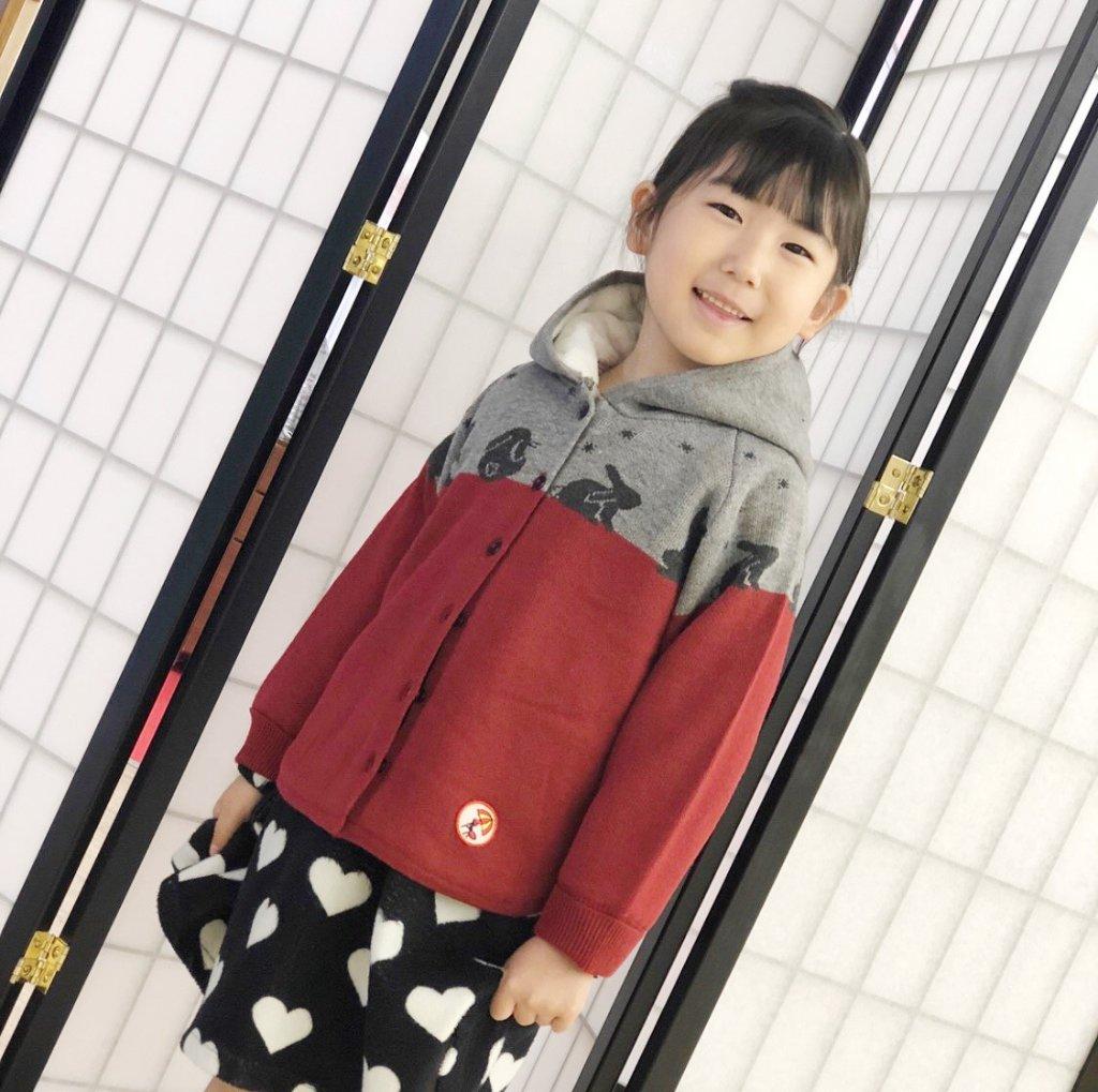 甚五郎オリジナル 子供用 裏ボア ニットコートの画像
