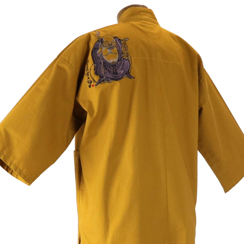 作務衣 布袋様刺繍入り 金茶画像