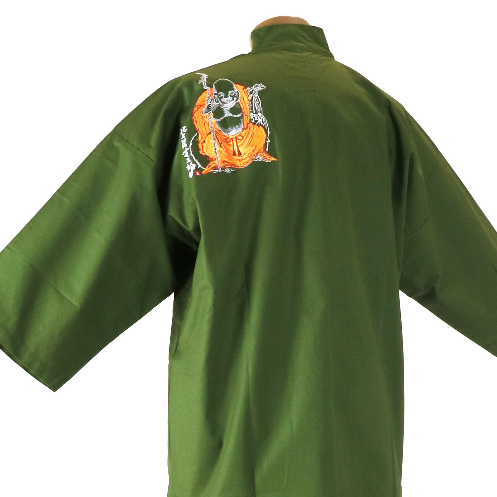 作務衣 布袋様刺繍入り 緑画像