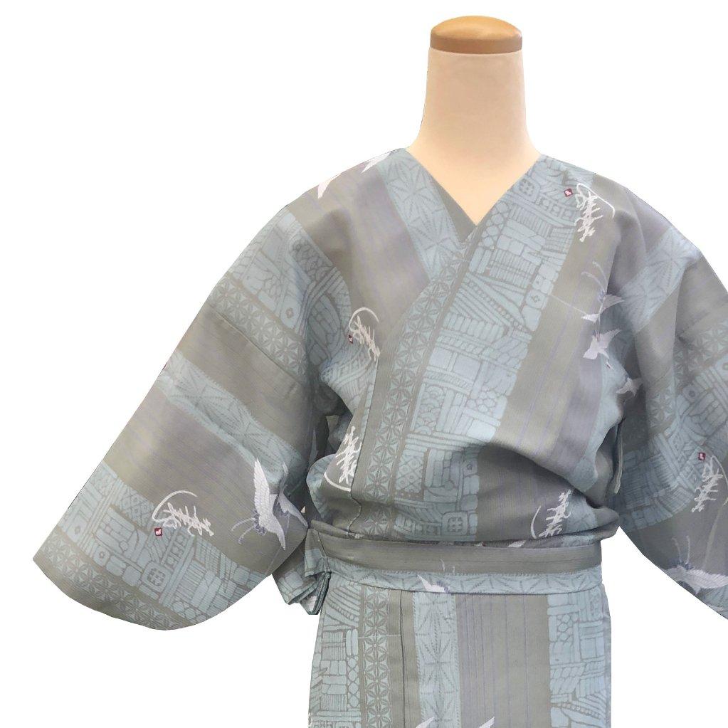 二部式着物 紗 飛翔鶴 グレーの画像