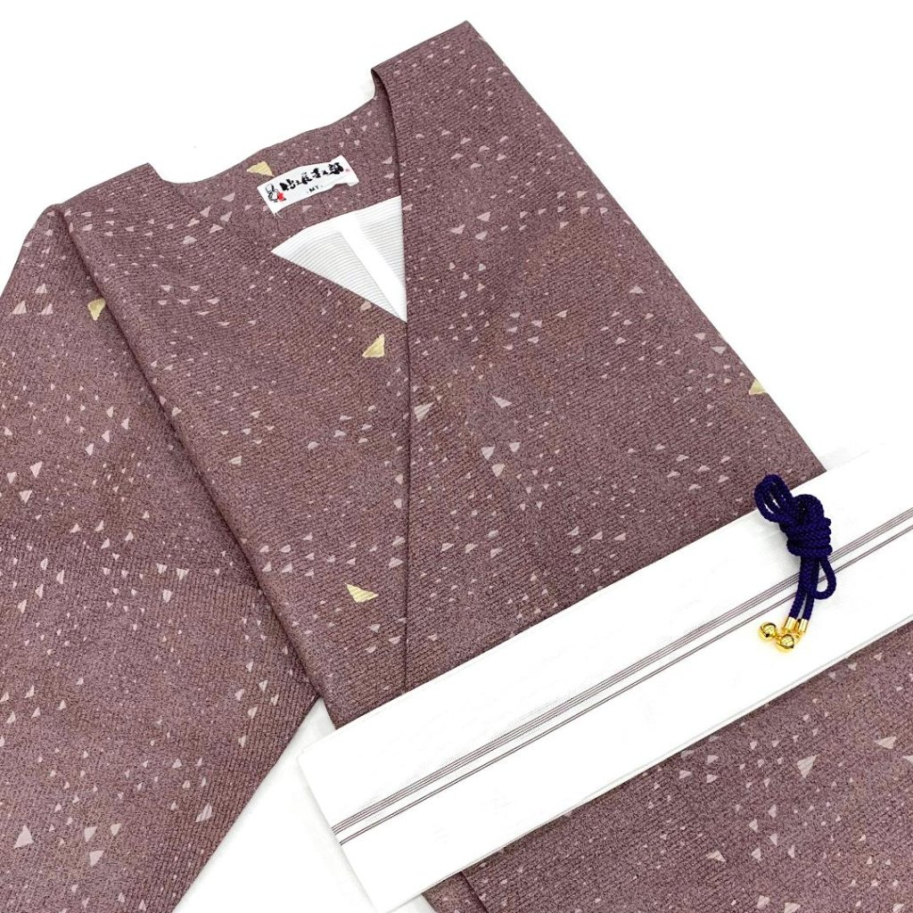 【夏物】衿なし高級着物(小袖)絽小紋 3点セット MTサイズ [N017]の画像