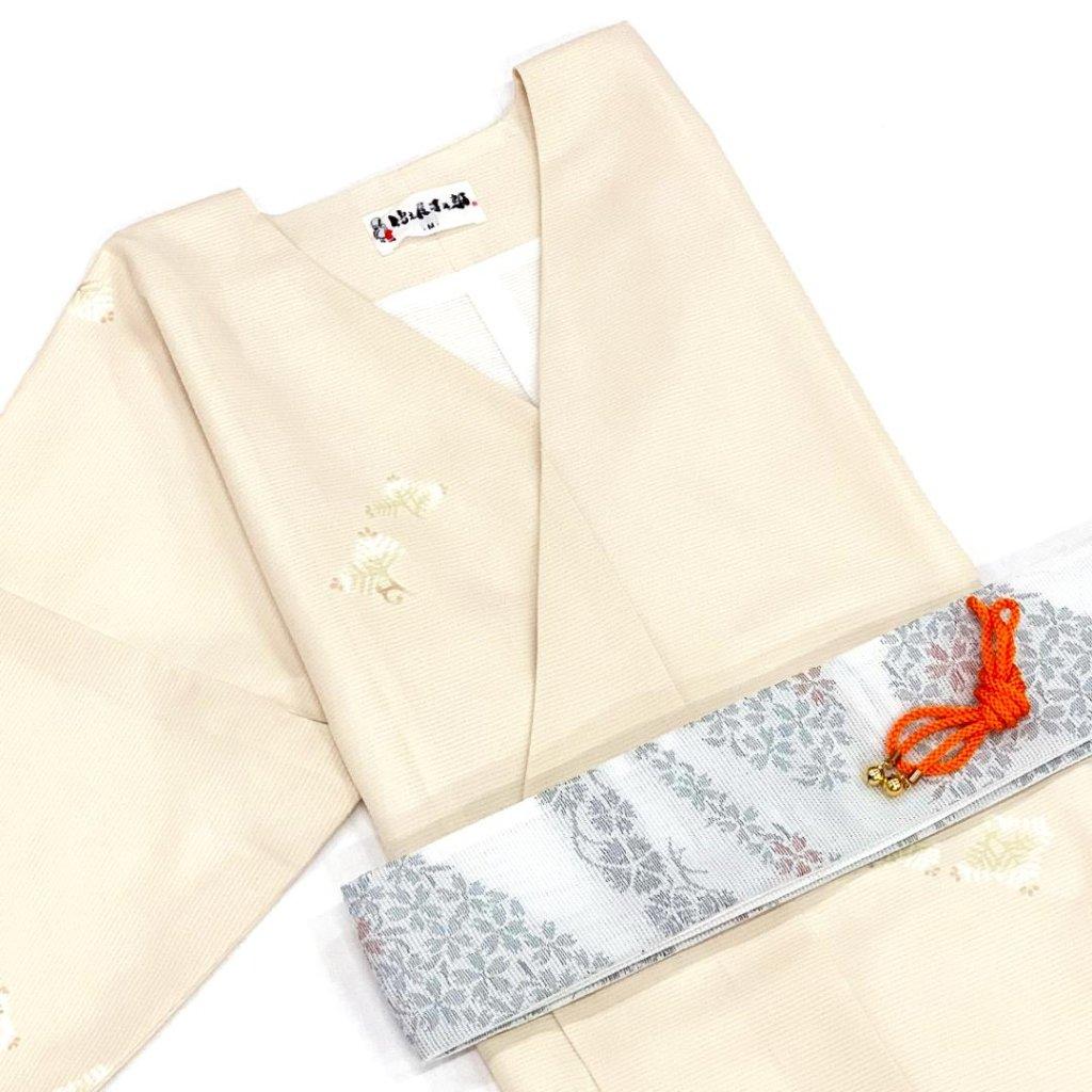 【夏物】衿なし高級着物(小袖)絽小紋 3点セット Mサイズ [N018]の画像