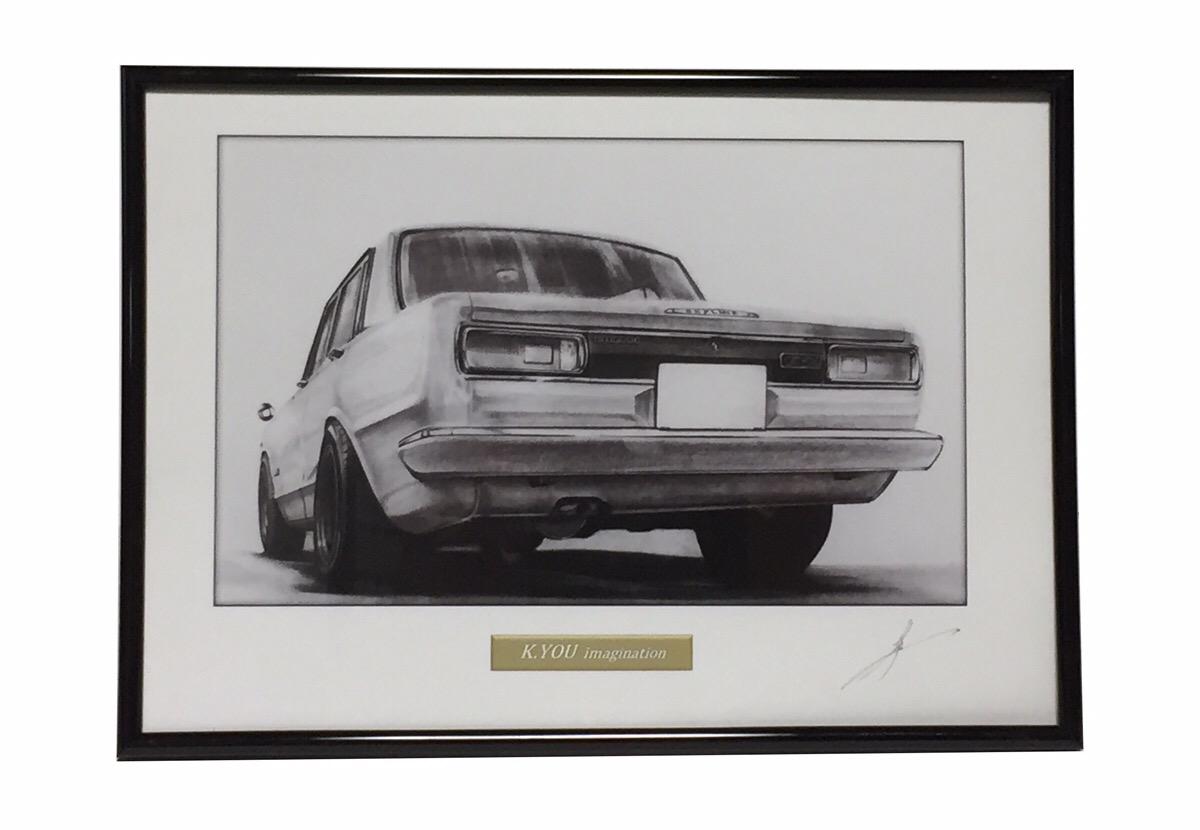 ハコスカ 4ドア GT-R 前期 【鉛筆画】イラスト A4サイズ 額入り画像