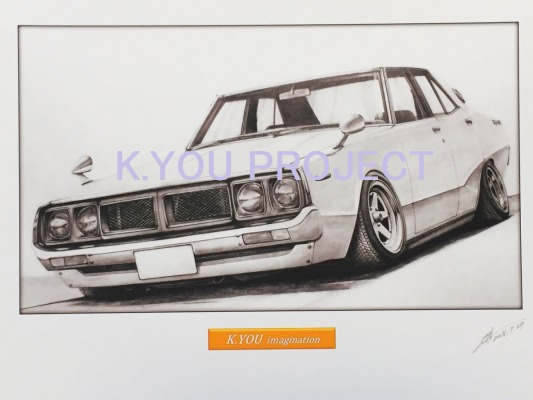 ケンメリ 4ドア ヨンメリ 鉛筆画 イラスト A4サイズ 額入り画像