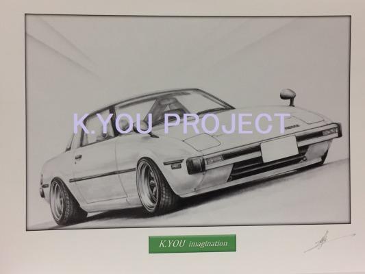 サバンナ SA-RX-7前期【鉛筆画】イラスト A4サイズ 額入り画像