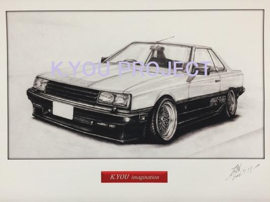 スカイライン RS R30【鉛筆画】イラスト A4サイズ 額入り画像