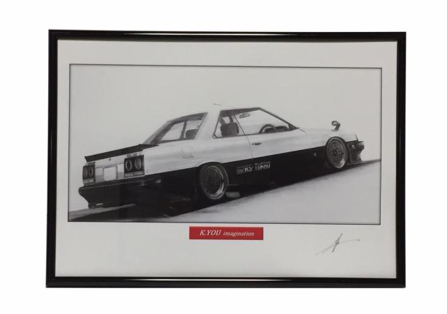 スカイラインRS-R30 ターボ りア【鉛筆画】 A4サイズ 画像