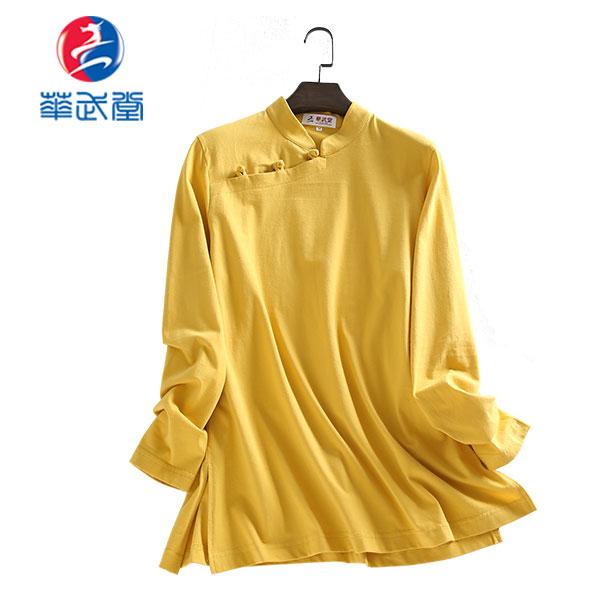 チャイナタイプ横開き長袖太極拳Tシャツの画像