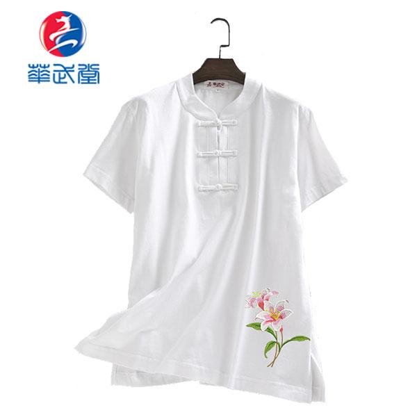 チャイナタイプ刺繍太極拳Tシャツ-百合の画像