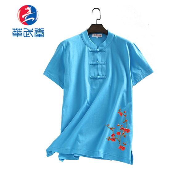 刺繍チャイナタイプ太極拳Tシャツの画像