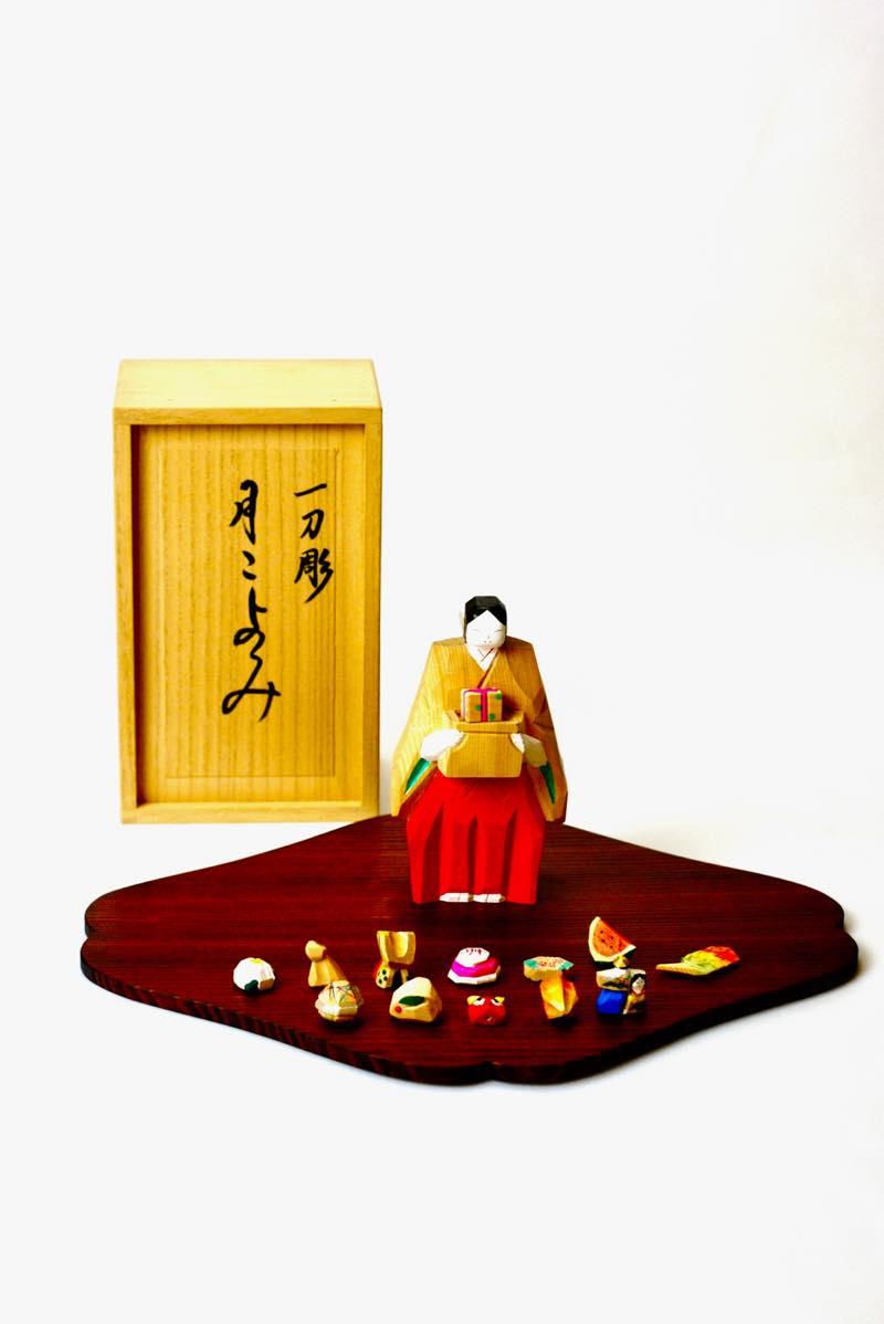 浦弘園作「月こよみ」奈良一刀彫+嘉門工藝 敷板画像