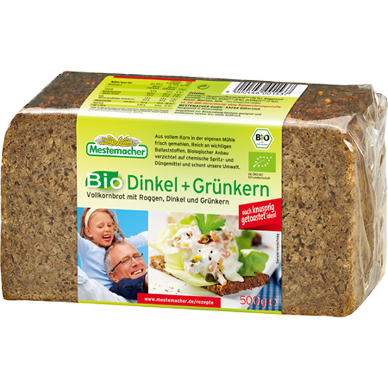 MIE メステマッハー オーガニックディンケル&グリューンケルン (ライ麦&スベルト小麦パン) 500g画像